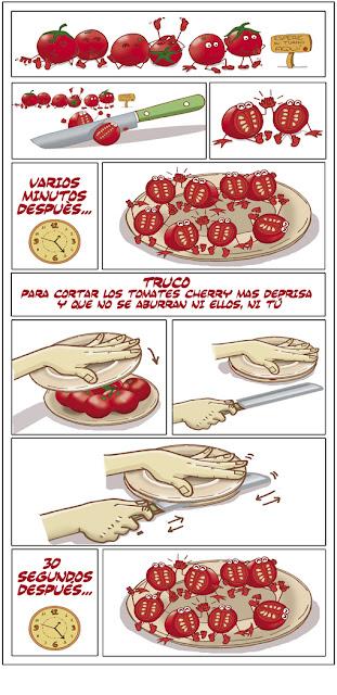 Truco 1. Cortar Cherrys. Recetas Pintonas. Autora: Geosmina Petricor.