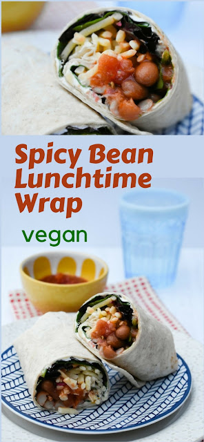 Spicy Vegan Bean Lunch Wrap (a fakeaway recipes) #vegan #veganrecipe #wrap #lunchwrap #beanwrap #sandwich #lunchbox #beans #salsa