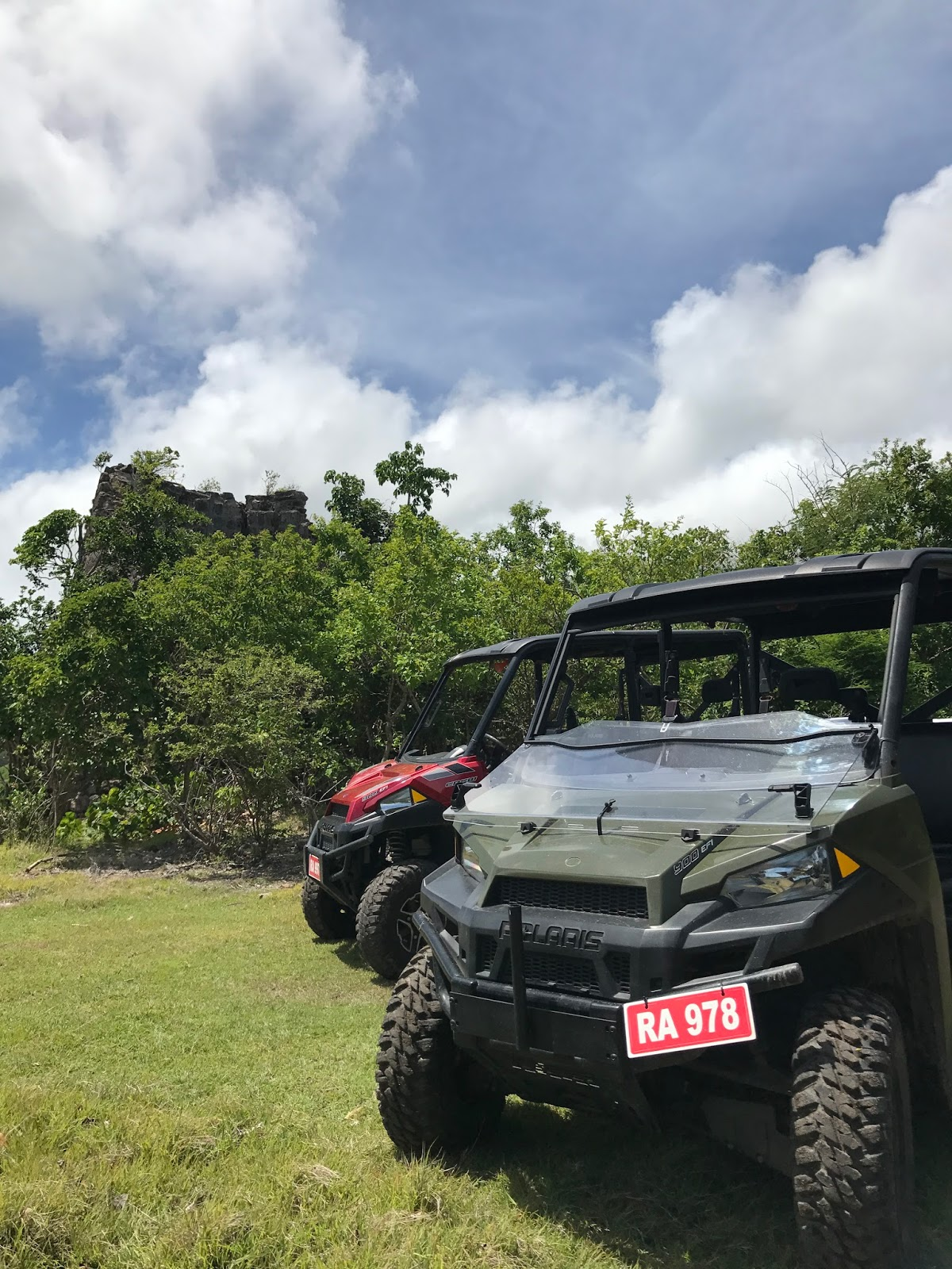 off-road vehicles at a historic site on Nevis Island