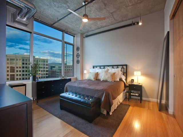 Bedroom in Denver penthouse with incredible views of the city