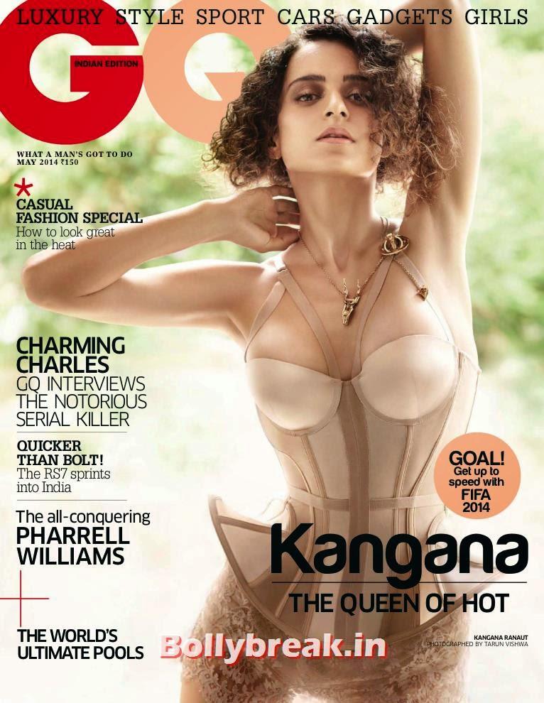 Kangana Ranaut in Bridal Lingerie on GQ Magazine Cover, Shocking!! Pics of Kangana Ranaut in Lengerie from GQ India Magzine - May 2014