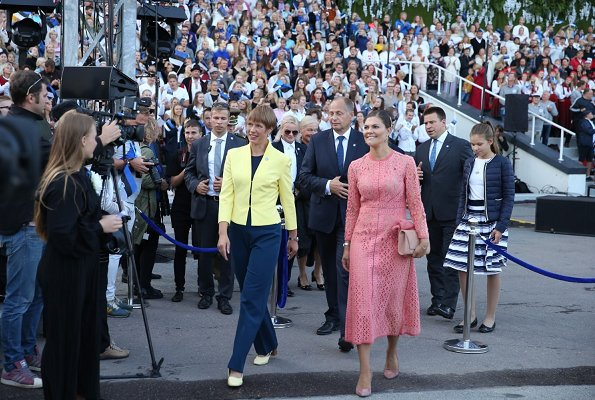 Crown Princess Victoria wore ELIE SAAB Guipure Lace Dress. Estonia's President Kersti Kaljulaid and her husband Georgi-Rene Maksimovski