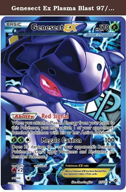 Genesect Ex Plasma Blast  Full Art Pokemon Card Rare Genesect Ex  Plasma