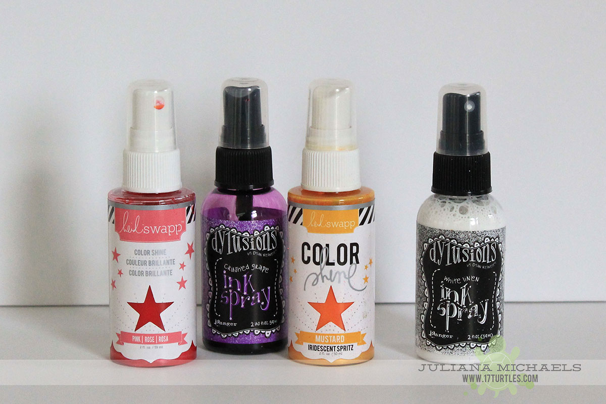 Create your own custom color spray ink by mixing colors. Pastel colors created by mixing Dylusions White Linen Ink Spray with other Dylusions colors and Heidi Swapp Color Shine Spray Ink.