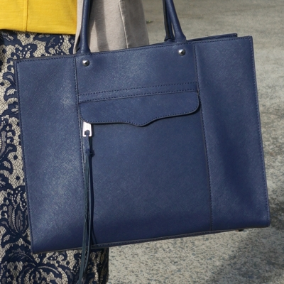 lace pencil skirt and Rebecca Minkoff medium MAB tote in moon navy | away from the blue