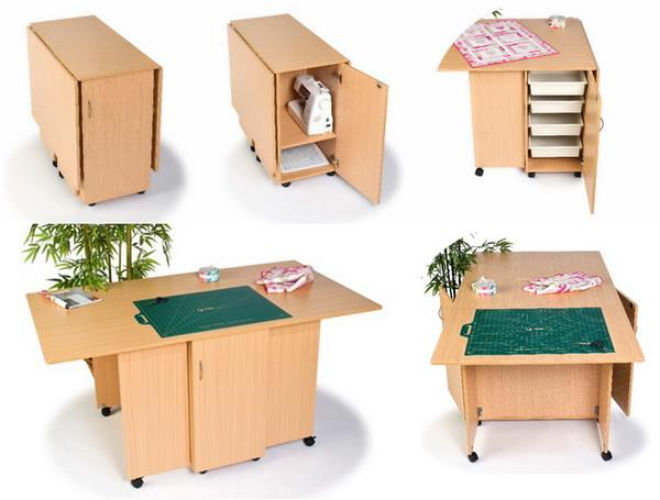 Sewing cutting and storing table for small spaces - Sewing table for small spaces design ...