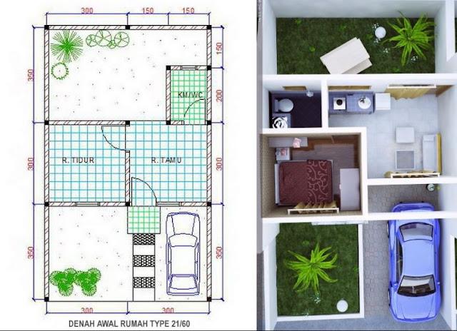 Denah Rumah Minimalis Idaman Sederhana Type 21