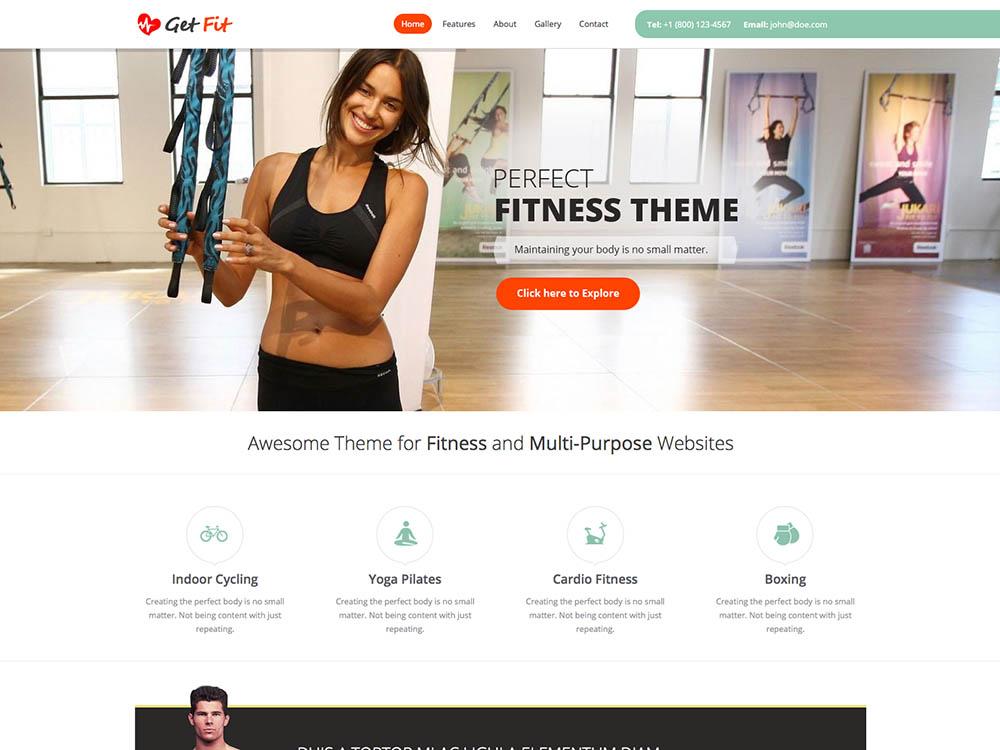 getfit gym fitness multipurpose wordpress theme