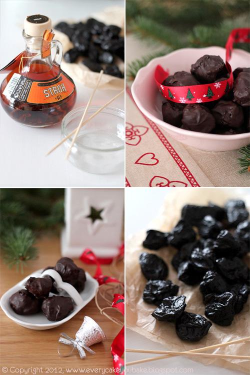 domowe śliwki w czekoladzie nadziewane marcepanem