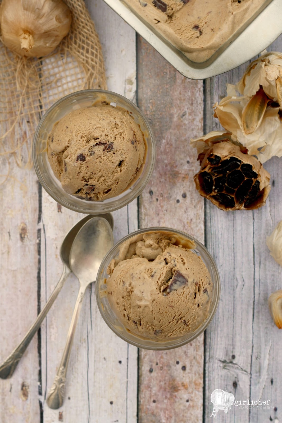 Black Garlic Chocolate Chunk Ice Cream #NationalGarlicDay