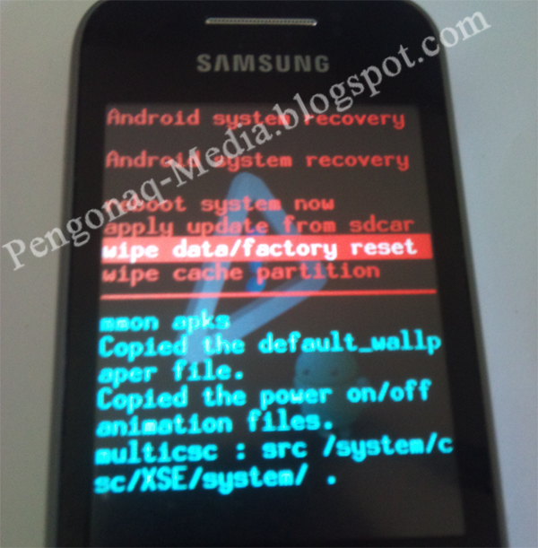 Tampilan Recovery Mode Samsung Galaxy Young GT-S5360