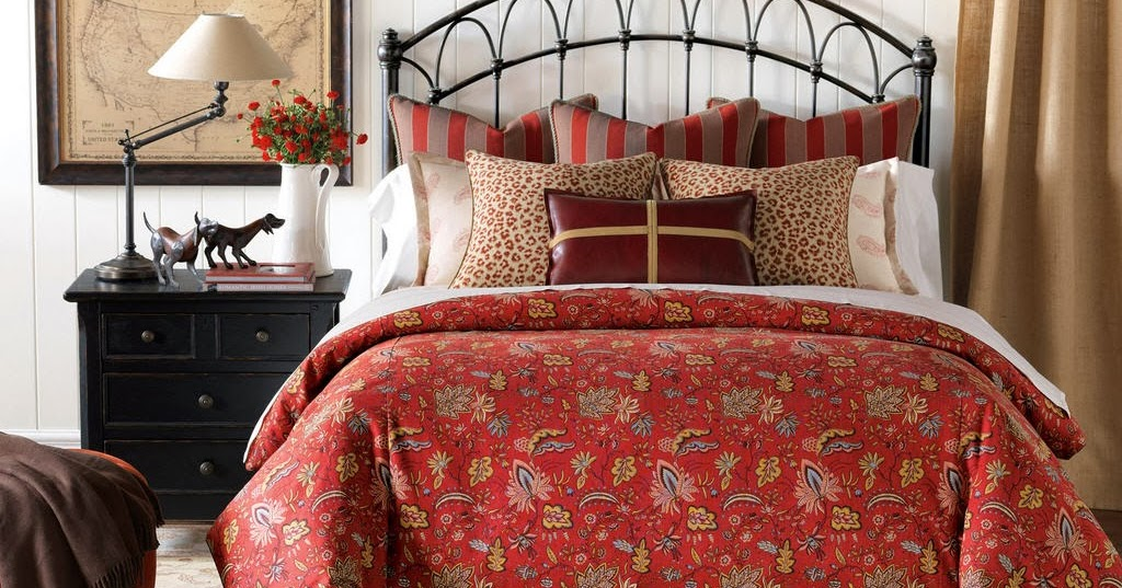 Elegant Red Floral Bedding Sets Barclay Butera Marseille