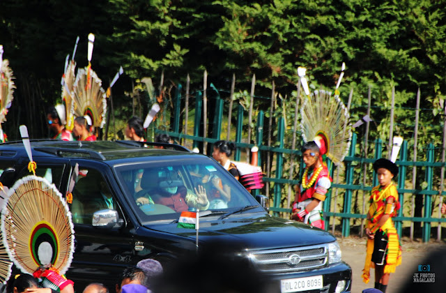 Prime Minister Narendra Modi's convoy arriving at at Kisama Heritage Village, Kohima for the inaugural programme of Hornbill Festival 2014