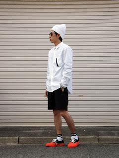 ブラックアンドブルーのMA-1ポケットシャツコーディネート