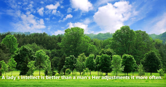 A lady's intellect is better than a man's Her adjustments it more often.