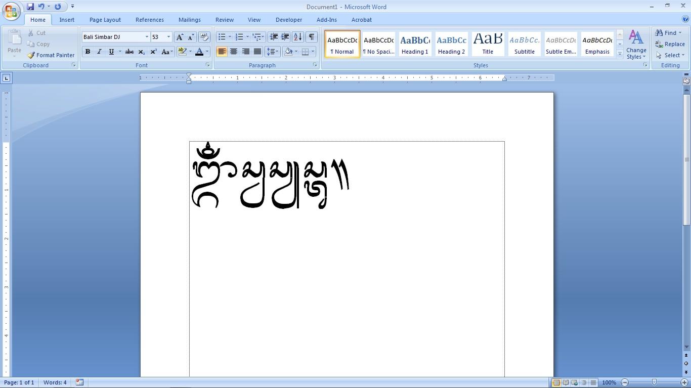 Aksara bali adalah sistem tulisan abugida yang terdiri dari sekitar 18 hingga 33 aksara dasar, tergantung dari penggunaan bahasa yang bersangkutan. Font Aksara Bali Simbar ~ Free games, software full version