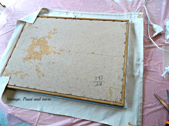 Vintage, Paint and more... using drop cloth fabric to decorate a bulletin board