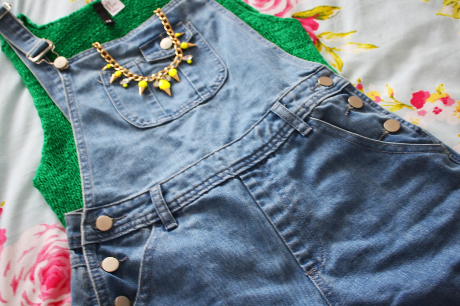 Denim dungarees and knitwear