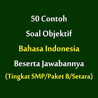 50 Contoh Soal Objektif Bahasa Indonesia Beserta Jawabannya Tingkat Smp Paket B Setara Boemei Ri