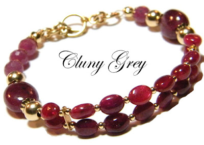 ruby bracelet with gold-filled accents