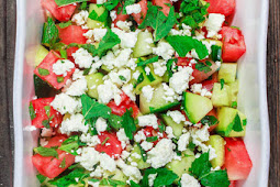 SUMMER WATERMELON SALAD WITH CUCUMBER, FETA AND MINT