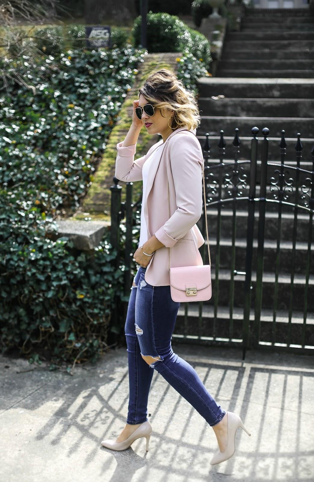 pink peonies pink blazer