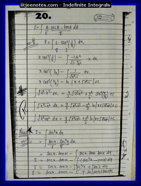 indefinite integrals notes 6
