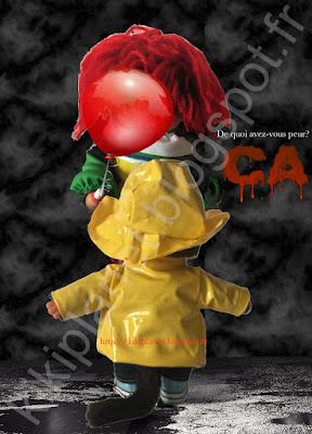 Stephen king Andres muschietti Tommy lee Wallace it ca il est revenu ça grippe-sous grippe sous pennywise clown tueur clown maléfique cirque hanté film horreur ben bill Beverly Eddie Stanley Mike henry ciré Georgie égouts Circus monchhichi kiki virkiki vintage parodie