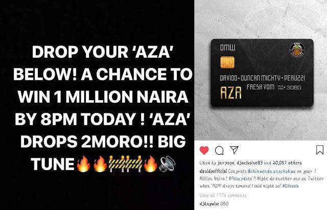 Davido Shares 1 Million Naira Each To His Lucky Fans On Social Media