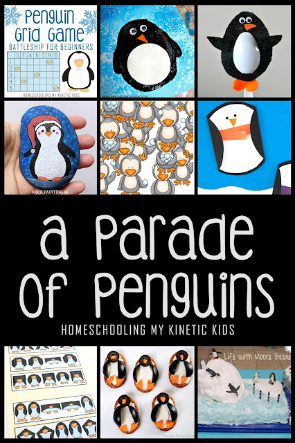 A Parade of Penguins // Homeschooling My Kinetic Kids // Mega round-up of all things penguins for the ultimate penguin homeschool or school learning unit.  Crafts, recipes, printables, sensory bins, books, and more.
