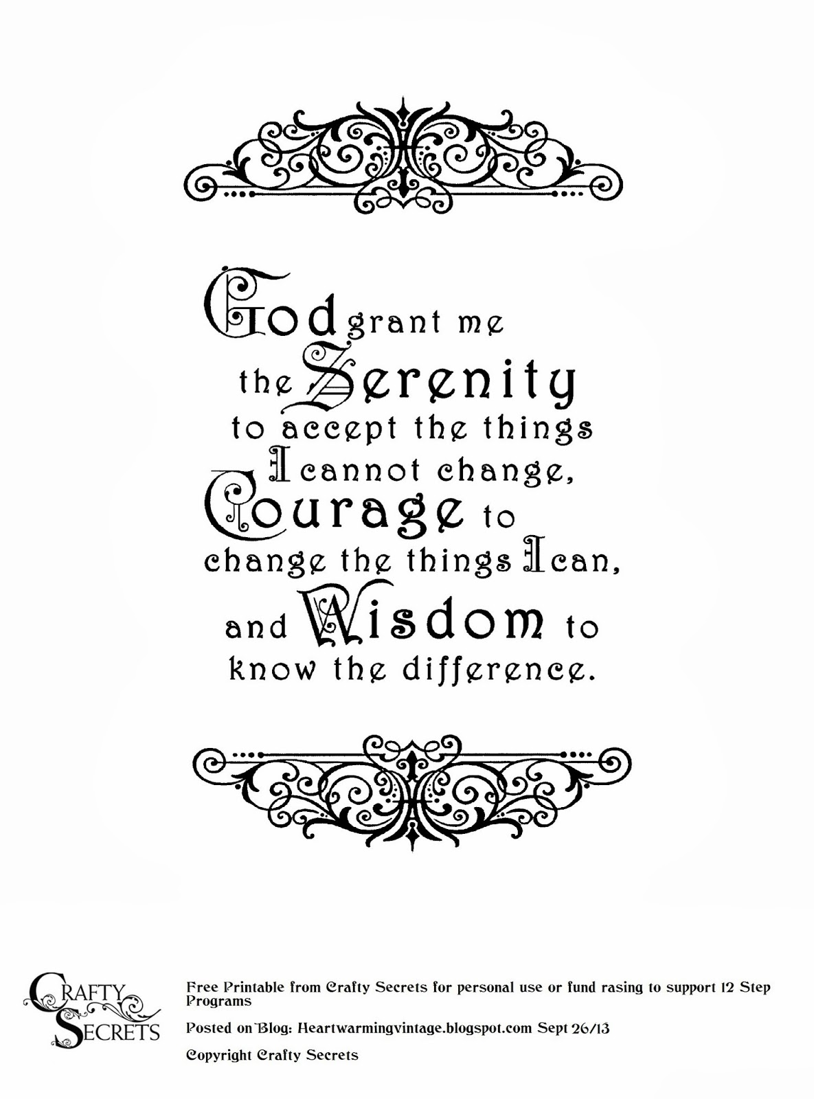 Crafty Secrets Heartwarming Vintage Ideas And Tips Free Serenity Prayer Printable And My Dad S