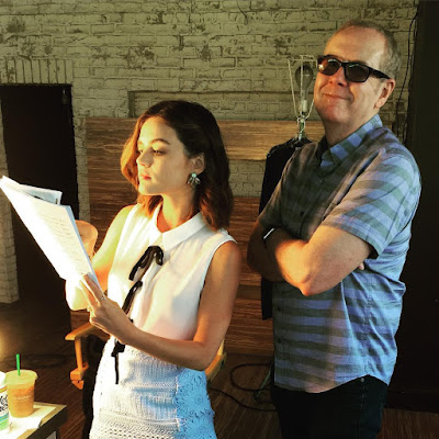 "PLL bts episode 7x11 ""Playtime"" Lucy Hale and Norman Buckley with script"