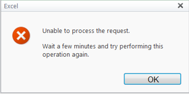 Unable to process the request. Wait a few minutes and try performing this operation again