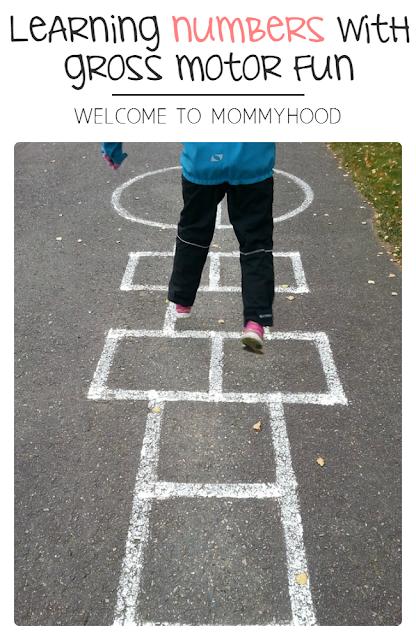Adding gross motor activities to your homeschool by Welcome to Mommyhood including FREE number cards #freeprintables, #homeschool, #preschoolactivities, #grossmotoractivities