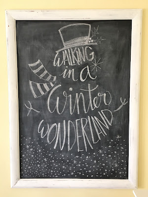 Walking in a winter wonderland snowman chalk drawing, Winter wonderland tablescape, bright colors for Christmas, Lime Green and red for Christmas The style sisters tablescape