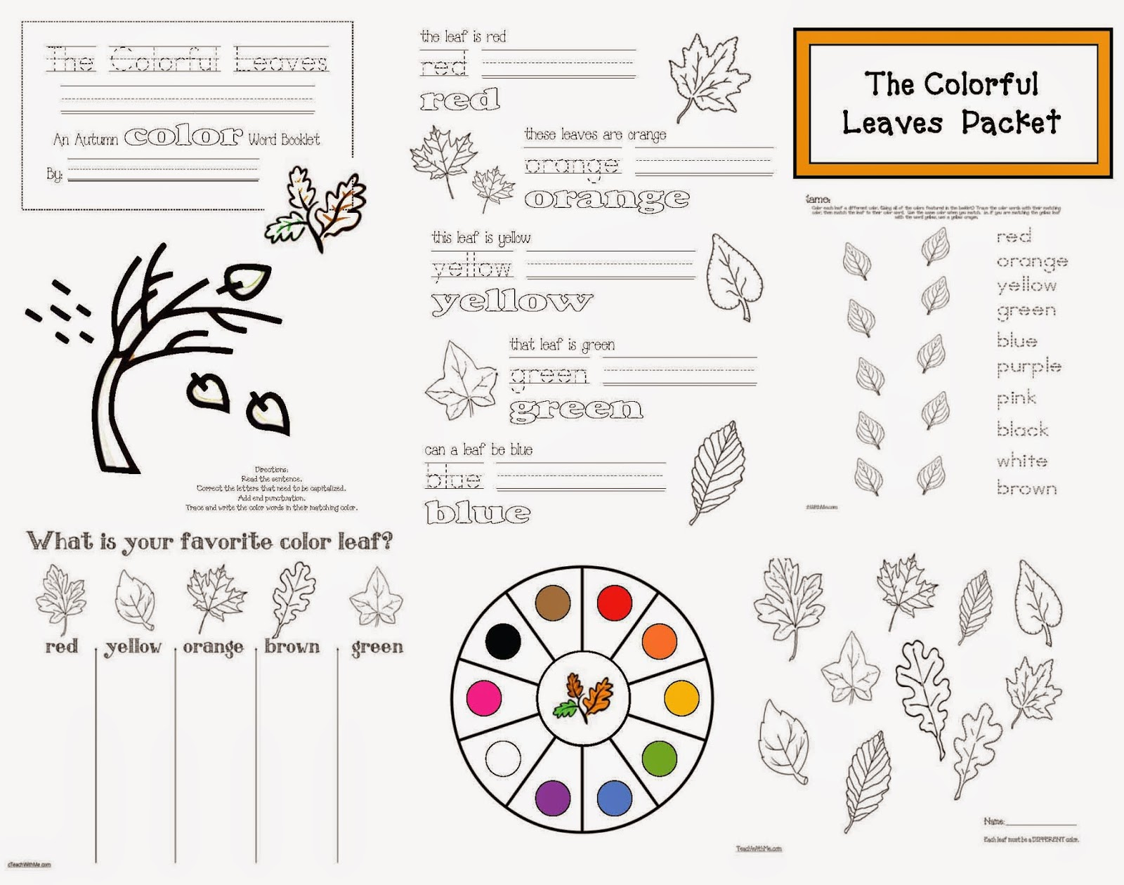 Classroom Freebies Colorful Fall Leaves Packet