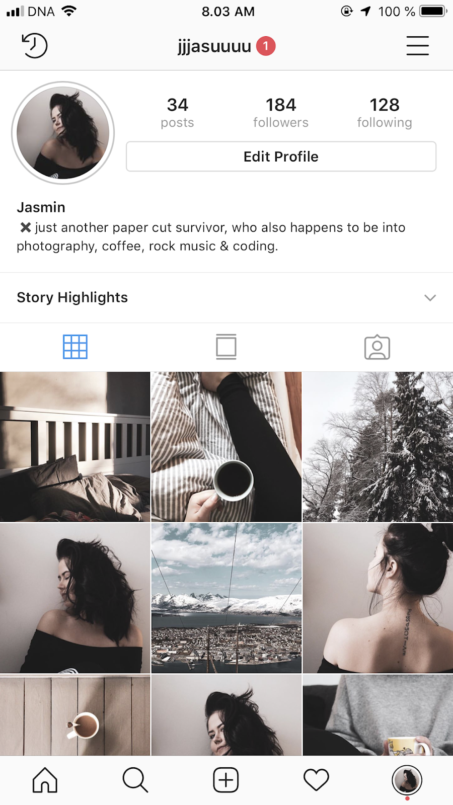 picture of an Instagram profile jjjasuuuu