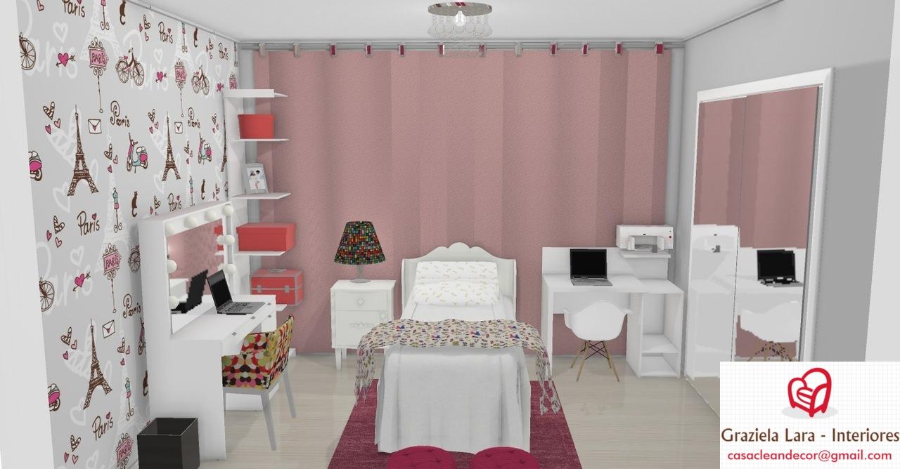 Construindo Minha Casa Clean Decora O Quarto De Menina Com Tema  ~ Quarto Cinza Feminino Com Nichos Quarto De Menina