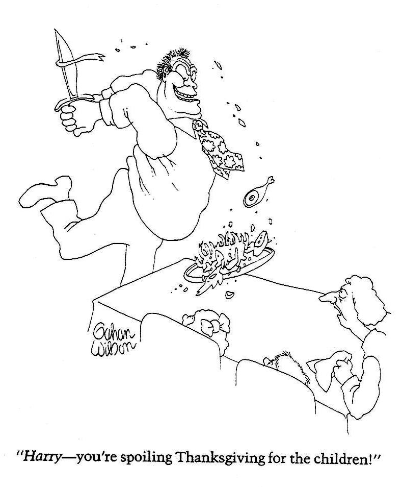 a Gahan Wilson cartoon about Thanksgiving dinner