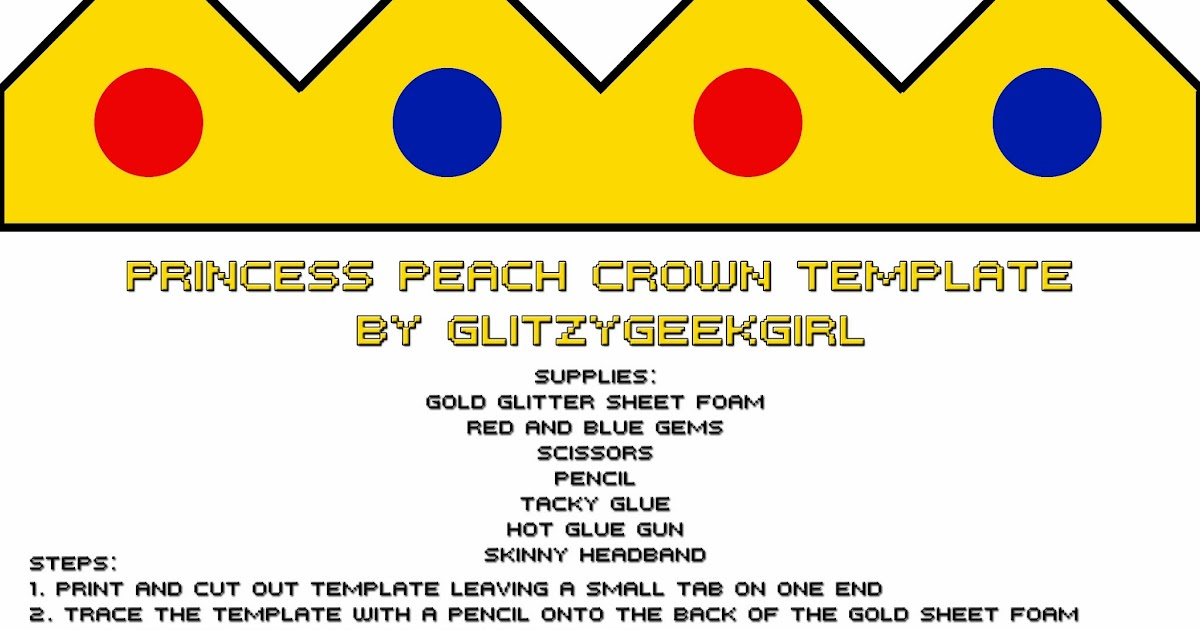 OMGLITZY Tutorial Princess Peach Crown - crown template
