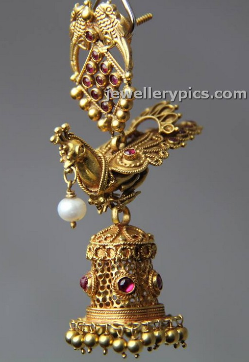 1bb142b16 22k Gold antique jhumka by Bhima jewellers with bird design. If a bird in  the hand is worth two in the bush, how much is a bird in the earring worth?!