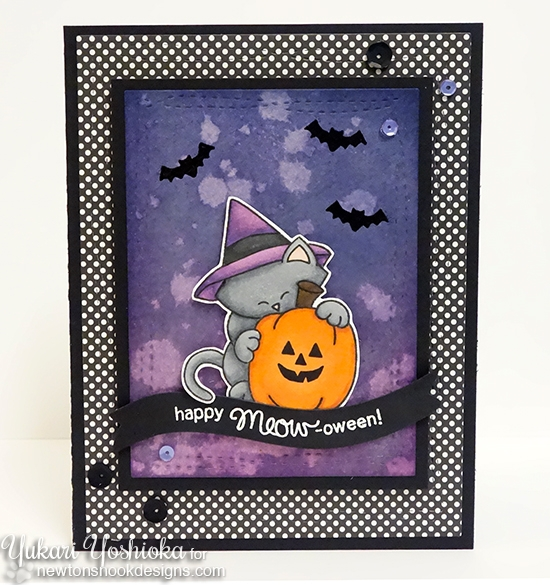 Cat Halloween Card by Yukari Yoshioka  | Newton's Perfect Pumpkin stamp set by Newton's Nook Designs #newtonsnook