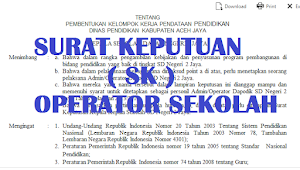 Contoh Format Surat Keputusan Operator Sekolah Tahun 2018