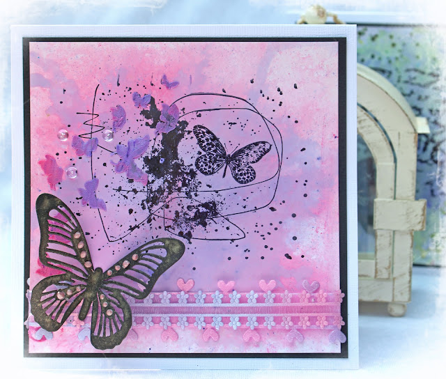 Alizarin Pink and Violet Brusho Card