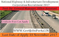 National Highways and Infrastructure Development Corporation Recruitment 2017– 32 Dy. General Manager, Office Assistant