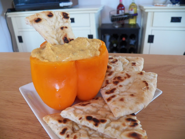 Curried Carrot Hummus in Orange Pepper