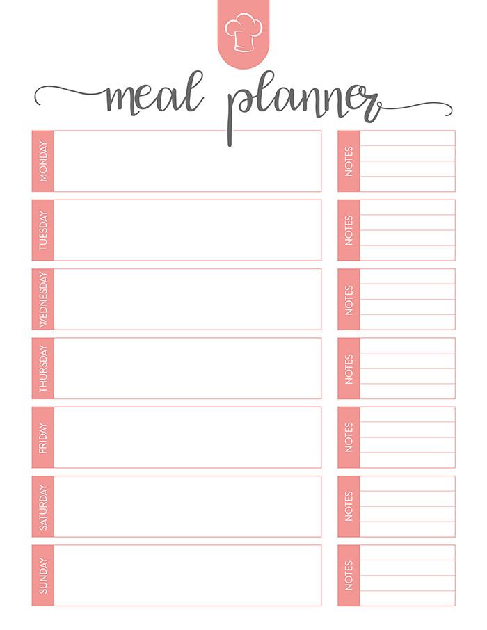 Magic image throughout weekly meal plan printable