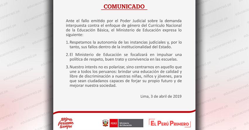 COMUNICADO MINEDU: Sentencia final sobre el Enfoque de Igualdad de Género y el Currículo Nacional de la Educación Básica - www.minedu.gob.pe