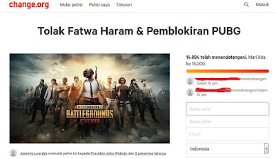 Jeremiah Luorde's petition rejects Haram Fatwa and PUBG blocking