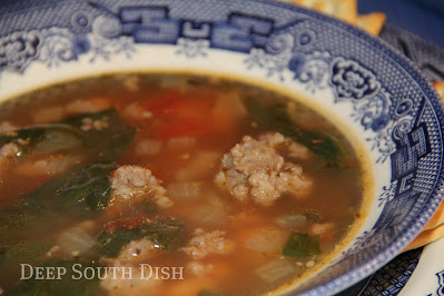 A southernized version of classic Italian Wedding Soup, made with spicy sausage and beef meatballs, collards and black-eyed peas.